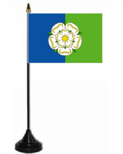 Yorkshire East Riding Desk / Table Flag with plastic stand and base